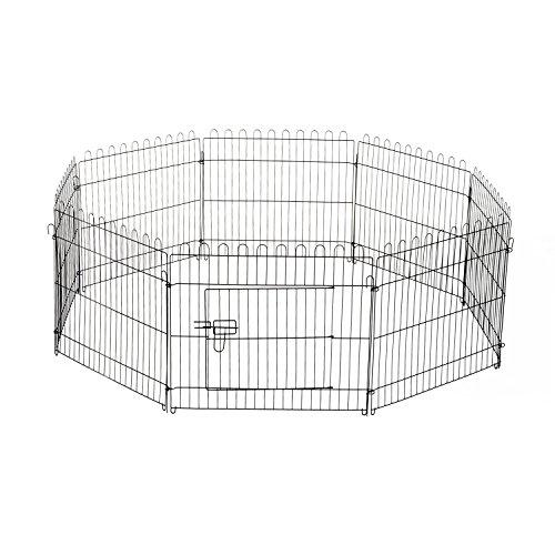 PawHut D06-025 Welpenauslauf / zaun Laufstall Freilaufgehege Hunde Achteckig, schwarz