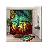 MaxAst Rideau de Douche et Tapis de Bain Modèle Coloré Tapis de Bain 40x60 Rideaux de Douche Polyester 150x180CM