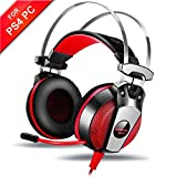 Gaming Headset PS4, AOSO GS500 Gaming Kopfhörer PC mit Stereo Bass Mikrofon In-line Lautstärkeregler Over-ear 50mm Drive LED Licht Stirnband für XBox 360 Tablet Smartphone Schwarz-Rot