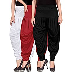 Dhoti pants for womens (Culture the Dignity Womens Lycra Dhoti CTD_00WRB_1_WHITE_RED_BLACK_FREESIZE) Combo Pack of 3