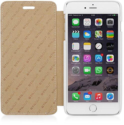 StilGut Book Type Case, custodia in vera pelle a libro con apertura laterale per Apple iPhone 6s Plus (5.5), Cognac Bianco