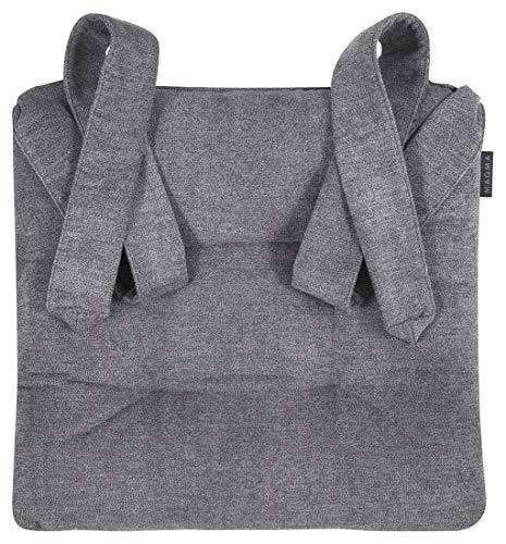 2 Stuhlkissen Sitzkissen Schleifenband Auflage Polster Stuhl Stuhlauflage Rattanstühle extra dick robust Esszimmerstühle, Farbe:Magma_anthrazit_007