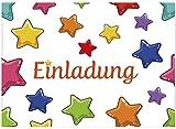 16 Einladungskarten zum Kindergeburtstag - Motiv Sterne - für Kinder, Jungen, Mädchen,Feier Geburtstagseinladungen im Set