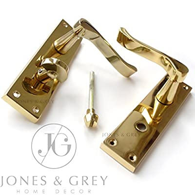 Pair Of Polished Brass Victorian Scroll Lever Latch Bathroom Privacy Door Handles On Back Plate - cheap UK light shop.