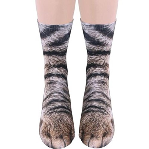 Adidas-schwarz Gestreiften Socken (Modische Socken Frauen Teen Mädchen und Jungen 3D Animal Pfote Drucken Pattern Crew Socken Cool Sneaker Sportsocken Damen Herren Adult Unisex Animal Paw Crew Socks Sublimated Print (I Cat))