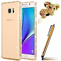 Galaxy A5 2017 Case,Galaxy A5 TPU Cover,Vandot Slim Fit Flexible Soft TPU [Scratch-Resistant] Sparkle Glitter Frame Ultra Clear Practical Protective Back Cover Case For Samsung Galaxy A5 A520F+Stylus Pen+Anti Dust Plug-GOLD