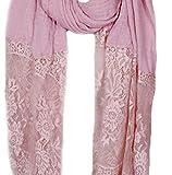 90cmX190cm Einfarbiger Schal Stola aus Baumwolle und hochwertiger Spitze