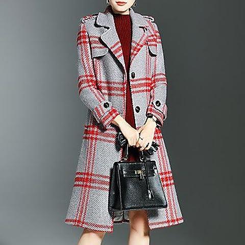 Da Wu Jia señoras cubra la mujer va simple zanja Coat,el Plaid Peter Pan Collar de manga larga de lana roja de invierno / Poliéster , m