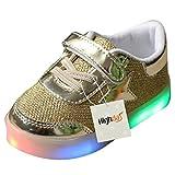 Highdas Kleinkind Jungen Mädchen LED Schuh bunte leuchten Sneakers Turnschuhe Gold Größe 26