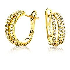 Idea Regalo - Miore Orecchini Donna Cerchio Diamanti taglio Brillante ct 0.6 Oro Giallo 18 Kt/750