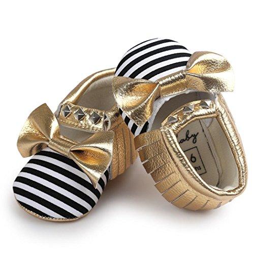 Clode® Bébé Bowknot Stripe Rivet doucement semelle chaussures Sneakers enfant en bas âge (12 ~ 18 mois, Or) Jaune