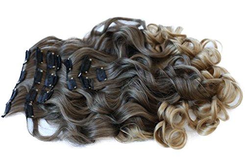 PRETTYSHOP XXL 60cm 8 teiliges SET Clip In Extensions Haarverlängerung Haarteil hitzebeständig Ombré Two-Tone braun blond #8T25 CES19-1 (In Extensions Haar Ombre, Clip)