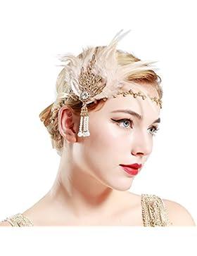BABEYOND Anillo de la Flapper de los años 20 Anillo de la pluma Gran venda de Gatsby Accesorios de la aleta de...