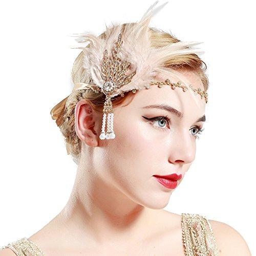 BABEYOND Fascia Anni 20 Gatsby Flapper Headband Fascia Charleston con Piuma  Anni 20 Fascia Capelli Gatsby 7f23163bf0ff