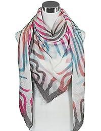 Mevina Damen XXL Schal grafisches Muster groß quadratisch Retro Vintage Tuch Schal Halstuch groß Oversized Premium Qualität