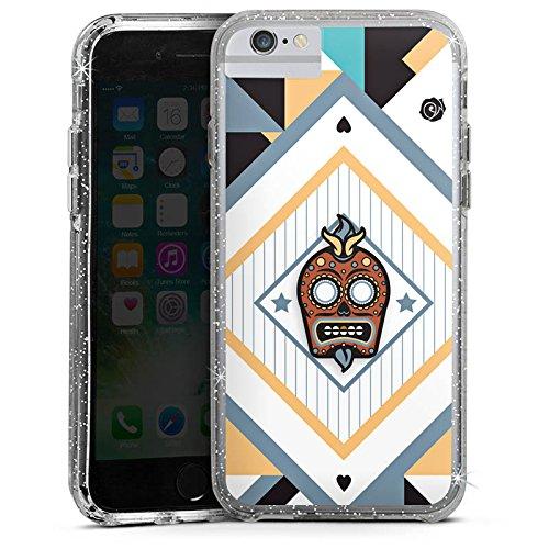 Apple iPhone 6 Bumper Hülle Bumper Case Glitzer Hülle Skull Abstrakt Abstract Bumper Case Glitzer silber