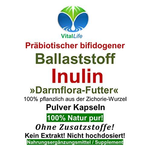 Ballaststoff Inulin 120 Pulver Kapseln NATUR PUR #26334 | NICHT hochdosiert. KEIN EXTRAKT. OHNE ZUSATZSTOFFE. OHNE FÜLLSTOFFE! Hergestellt und abgefüllt in Deutschland.