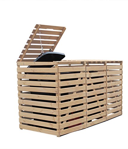 Mülltonnenbox Holz V für drei 240 Liter Tonnen, Holz Natur
