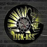 WCZZH Kick-Ass Superhero CD Horloge Murale Marvel Comics Disque Vinyle Horloge Creative Main Décor À La Maison Suspendus LED Horloge