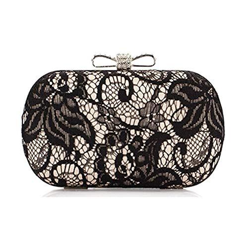 Nuanxin Damen Tasche Trend Geldbörse, Spitze Abendkleid Bogen Seidensatin Handtasche, Mode Tasche Lady, Hochwertige Hardware, Starke Autolinie U10