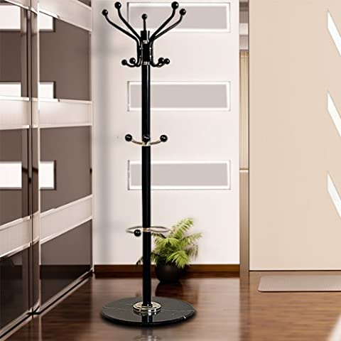 Coat Stand Hat Stand with Hooks Clothes Rack Marble Base and Umbrella Rack Black Solid Traditional