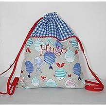 Bolsa mochila peces personalizada con el nombre bordado (30 x 37 cm. aproximadamente)