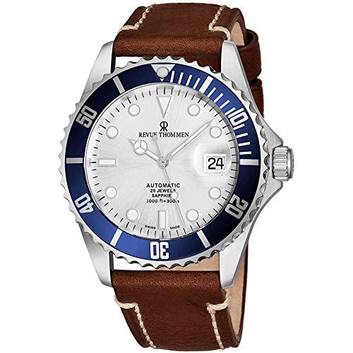 Revue Thommen Diver XL Homme 42mm Bracelet Cuir Automatique Montre 17571.2525