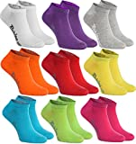 Rainbow Socks 9 pairs of ankle socks in white, purple, grey, orange, red, yellow, turquoise, green, fuchsia, highest quality of cotton with OEKO-TEX certificate, sizes: 10-11, 5