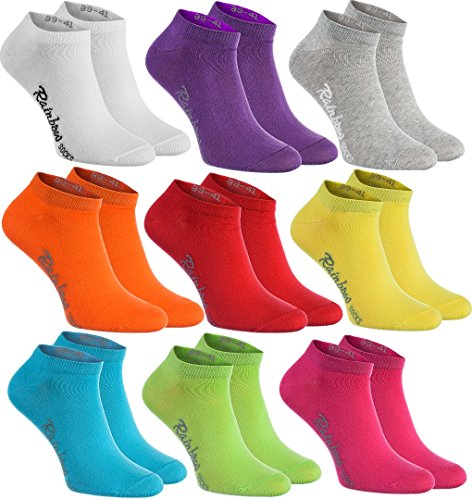 Rainbow Socks - Damen Herren Baumwolle Bunte Sneaker Socken - 9 Paar - Weiß Violett Grau Orange Rot Gelb Teal Grün Magenta - Größen 42-43 -