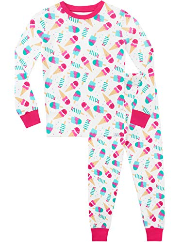 Harry Bear Pijamas para niñas Sueños de Helado Ajuste Ceñido Blanco 5-6 Años