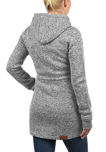 DESIRES Thora Damen Lange Fleecejacke Sweatjacke Jacke Mit Kapuze Und Daumenlöcher, Größe:XL, Farbe:Dark Grey (2890) - 3