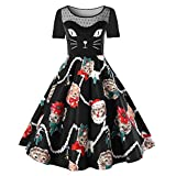 VEMOW Damen Elegantes Cocktailkleid Abendkleid Damen Mode Sleeveless Christmas Cats Musical Notes Print Beiläufig Täglich Vintage Flare Dress(X3-Schwarz, EU-48/CN-4XL)