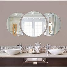 Combinaciones Acrílico Adhesivos De Pared De Espejo La Decoración Del Hogar Circular Creativo,Silver
