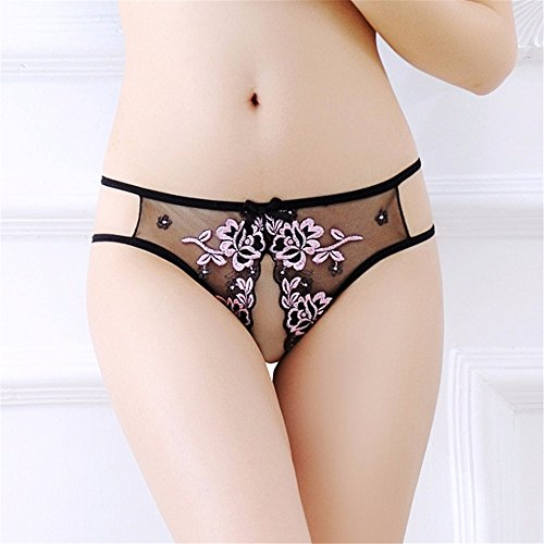Sexy Thong mesh transparent sexy Panties Skimpy Sexy g-String Micro Thong Women Knickerbocker Ochre, pink -