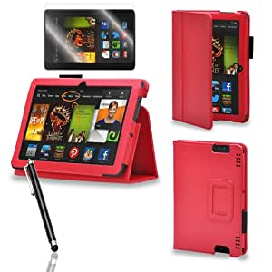 PrimeCases® Red Pu Leather Case Cover With Screen Protector & Stylus For Amazon All-New Kindle Fire HDX 7""