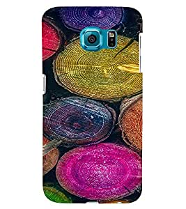 PrintVisa Colorful Tree Log Pattern 3D Hard Polycarbonate Designer Back Case Cover for Samsung Galaxy S6 Edge