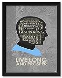 Northwest Art Mall Star Trek, Spock, Live Long and Prosper Affiche Encadrée par Stephen Poon. 18x24/20x26 inch