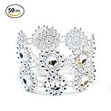 Gaeruite 50 Stücke Sonnenblumen Serviettenring Strass Serviette Ringe Halter Schmuck Für Hochzeit Dinner-Party (Silver)