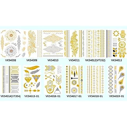 Wallner color dorado y plateado Mettalic diseño de joyas pulsera–10hojas unidades, A4