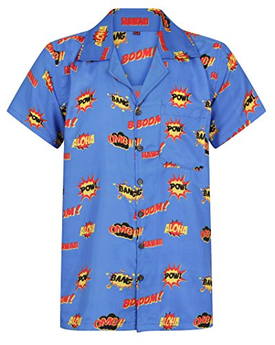 Hawaiian-Shirt-Comic-Print-Shirt-Mens-Hawaii-Holiday-Beach-Stag-BBQ-Beer-Summer-SuperHero-Boom-Graffiti-Cartoon-Vintage-Clothing-Book-S-M-L-XL-XXL