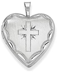 Sterling Silver Patterned Holds 2 photos 20mm Satin and Sparkle-Cut Cross Heart Locket