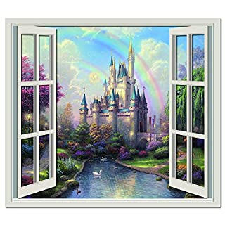 azutura Princess Castle 3D Window Wall Sticker Fairytale Wall Decal Girls Bedroom Decor available in 8 Sizes Gigantic Digital