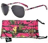 Hornz rosado brillante camuflaje polarizados gafas de aviador para las mujeres y que coinciden con bolsa de microfibra - tamaño medio a grande de la cara - Hot Marco rosado de Camo - Lente Humo