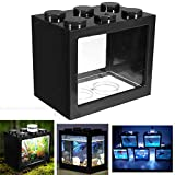 Aquarium LED Complet pour Débutants, LED Aquarium Mini Fish Tank, Bettas Clair Bloc Aquarium Fish Tank Reptile Box USB Bureau Table Miniature Pet Box avec des Effets de Couleurs changeantes