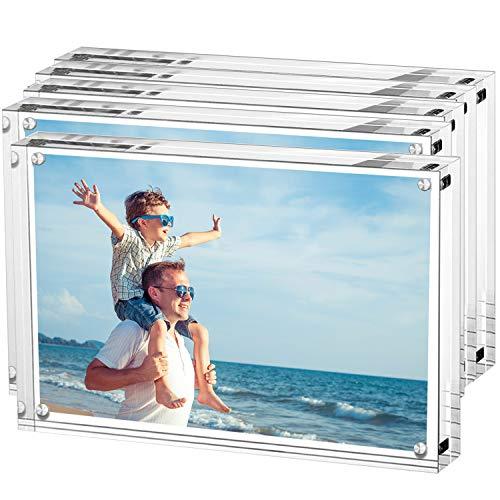 LileZbox Acryl-Fotorahmen, Bilderrahmen, Ständer mit Magneten, 6 x 8 Zoll große Bilder, 10 mm + 10 mm Dicke transparent 8 inch 5Packs - Bilderrahmen, 10x8