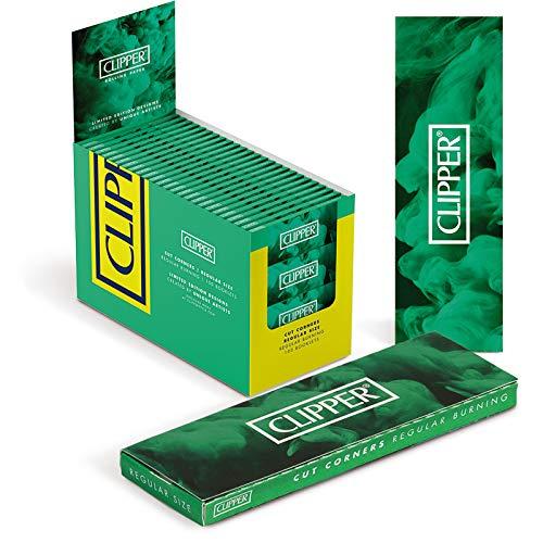 Clipper Cartine Corte Verde/green- Angoli Tagliati - 100 Libretti per Confezione - 17,50g/mq