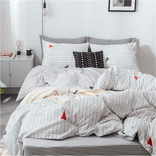 SHJIA Bettwäsche-Sets Gestreifte Bettwäsche Duver Set Bettbezug Kissenbezug Soft King Queen Size A 180x220cm -
