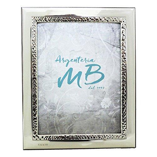 Cornice portafoto lucida con fascia puntellata cm 18x24 in argento