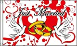 Just Married Love Tauben und Ringe 5 'x3' (150 cm x 90 cm) Flagge