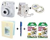 Fujifilm Instax Mini 9 Deluxe Camera Bundle - White (Mini 9 Camera + Leather Camera Case + 40 Shot Film + 64 Album + Marker Pen + Self-Portrait Mirror)